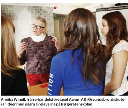 Företagsambassadörer möter elever i åk9 Bergvretenskolan, Enköping